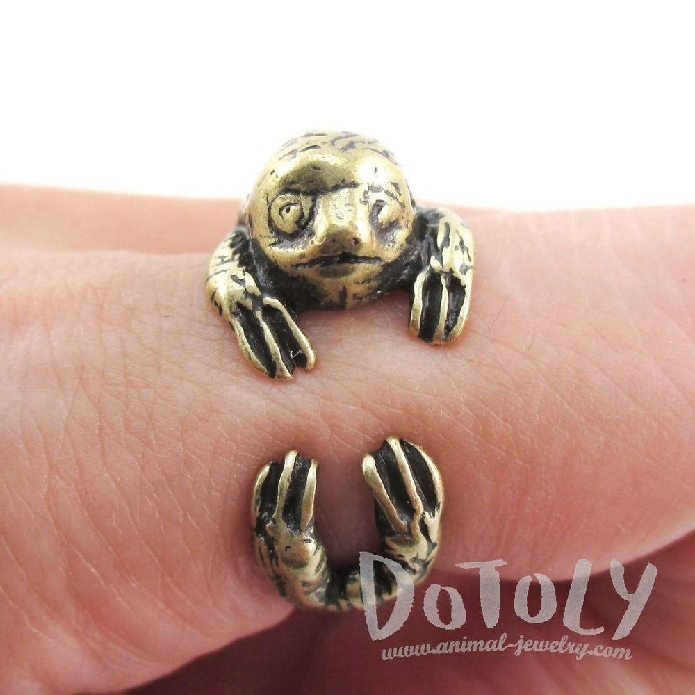Three Toed Sloth Shaped Animal Hugging Your Finger Ring in Brass