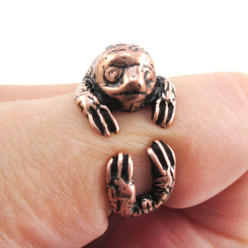 Three Toed Sloth Shaped Animal Hugging Your Finger Ring in Copper