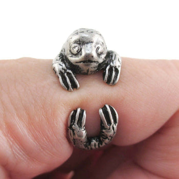 Three Toed Sloth Wrapped Around Your Finger Animal Ring in Silver