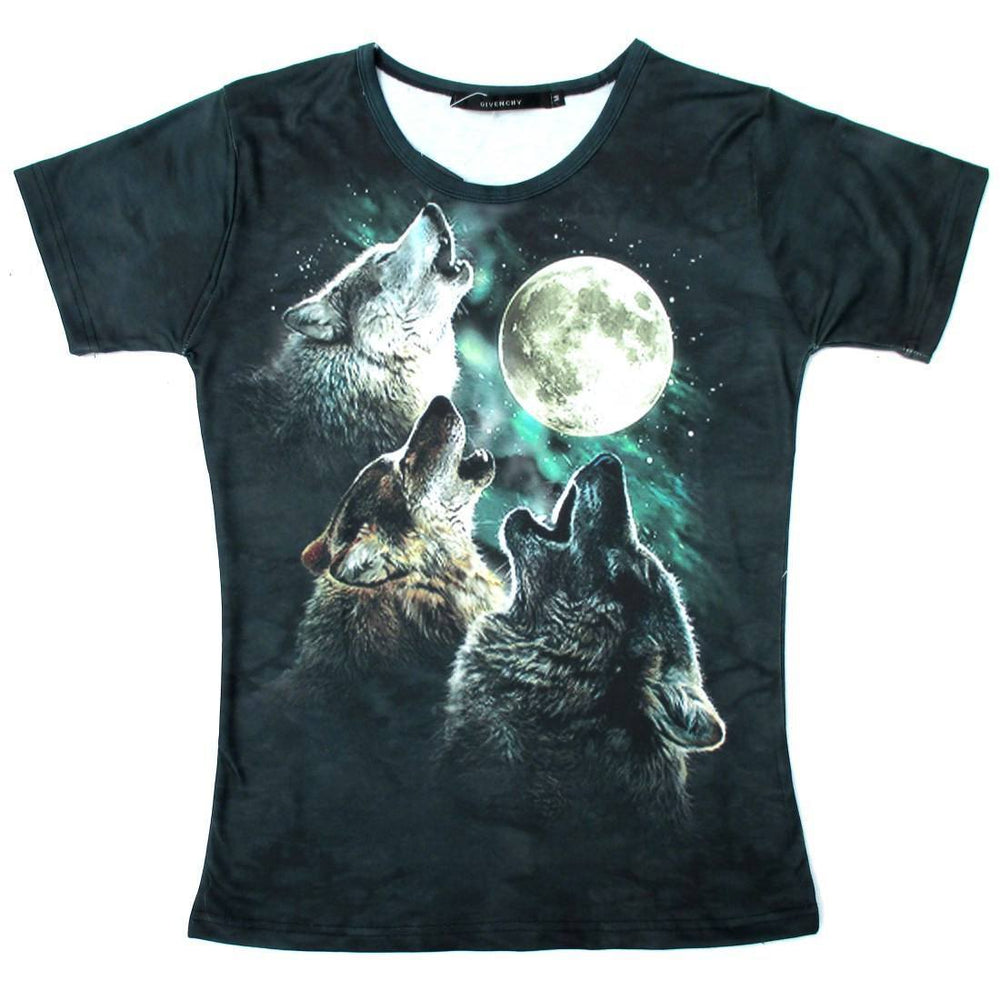 Three Wolves Howling At The Moon Aurora Sky Animal Print Graphic Tee T-Shirt for Women | DOTOLY