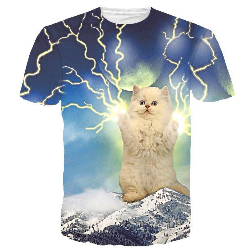 Thundercat Giant White Kitty Cat Playing With Lighting Print Graphic Tee | DOTOLY