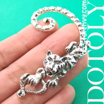 Tiger Realistic Animal Wrap Ear Cuff in Silver | DOTOLY | DOTOLY