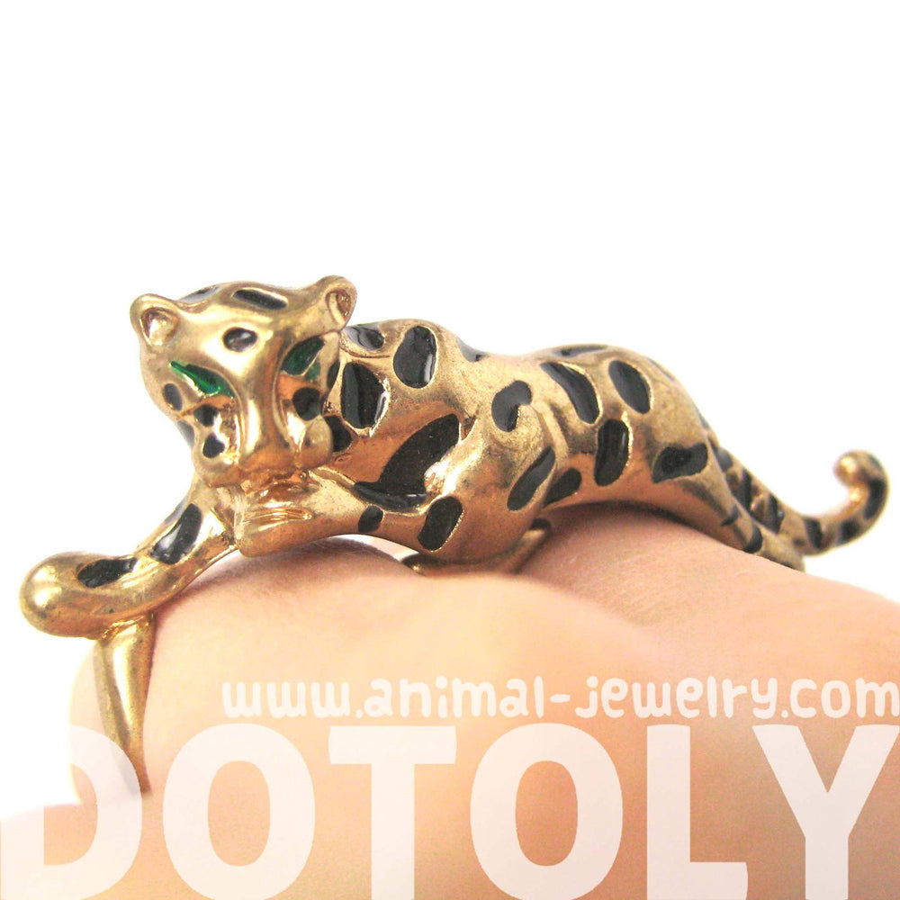 Tiger Leopard Double Finger Elegant Animal Ring in Gold | DOTOLY | DOTOLY