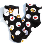 Tiger Polka Dot and Bow Tie Animal Graphic Print Cotton Socks for Women | DOTOLY