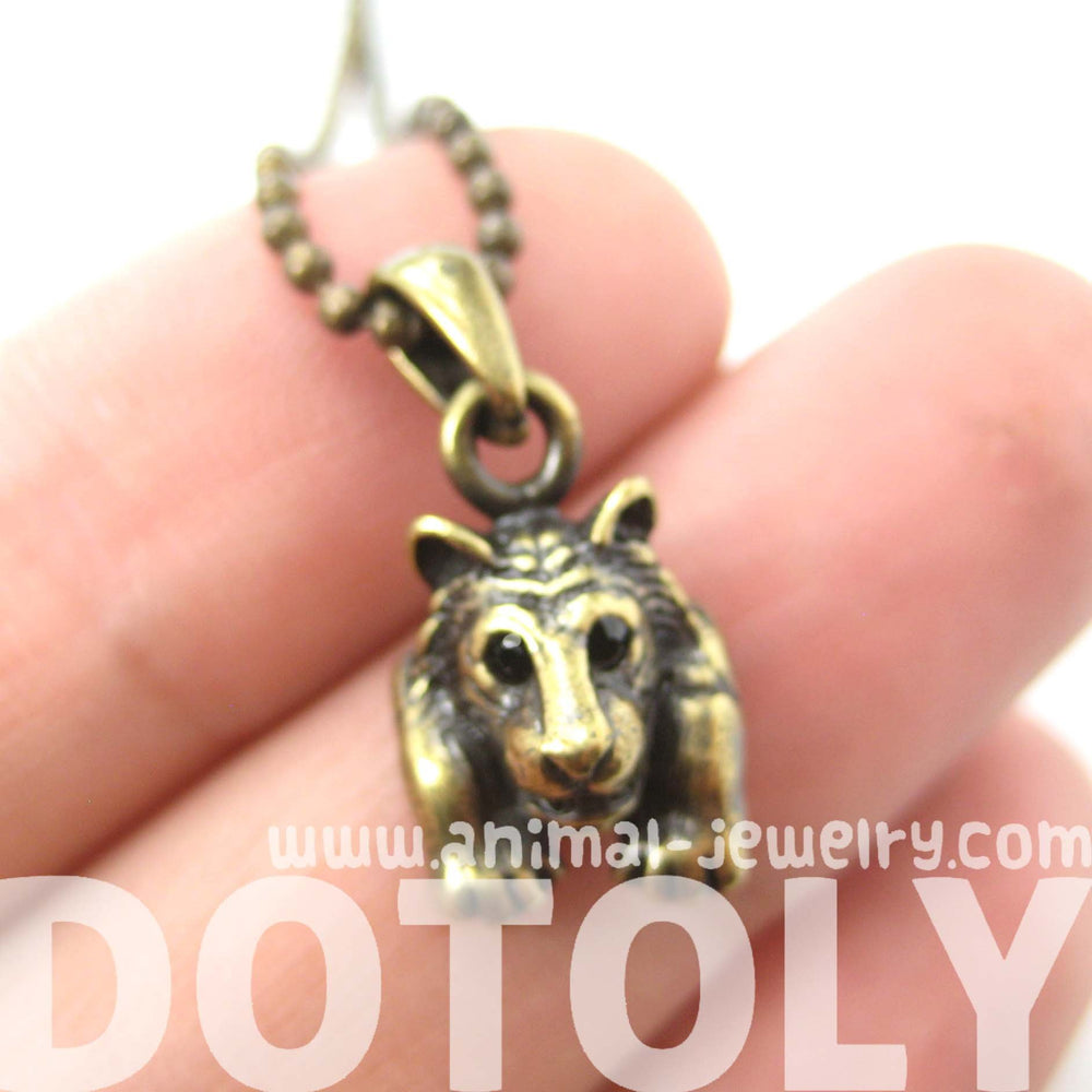 Tiger Realistic Animal Charm Necklace in Brass | Animal Jewelry | DOTOLY