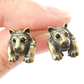 Tiger Realistic Animal Stud Earrings in Brass | Animal Jewelry | DOTOLY