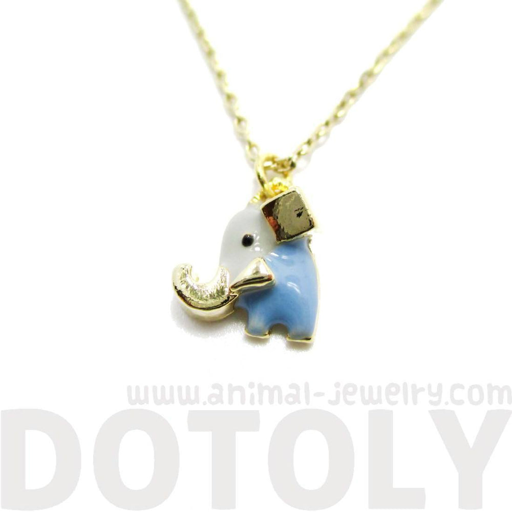 Tiny Abstract Elephant Shaped Enamel Pendant Necklace | Animal Jewelry | DOTOLY