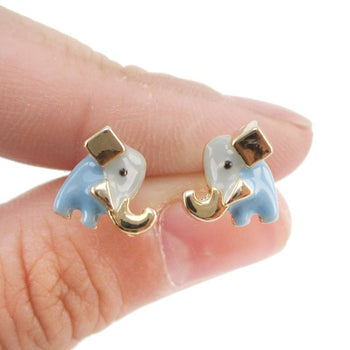 Tiny Abstract Elephant Shaped Enamel Stud Earrings | Animal Jewelry | DOTOLY