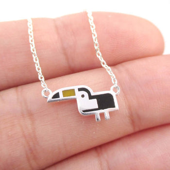 Tiny Atlantic Puffin Bird Shaped Enamel Charm Necklace in Silver | DOTOLY | DOTOLY