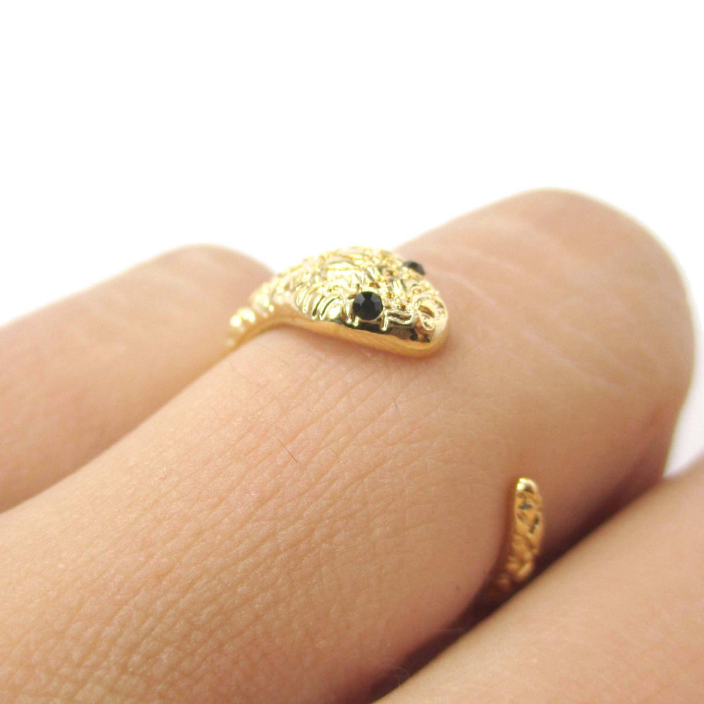 Tiny Baby Snake Hugging Your Finger Shaped Animal Ring in Gold | DOTOLY | DOTOLY