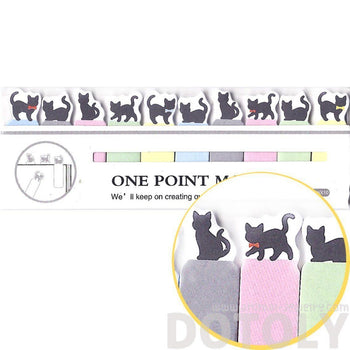 Tiny Black Kitty Cat Silhouette Shaped Animal Themed Sticky Post-it Memo Bookmark Tabs | DOTOLY