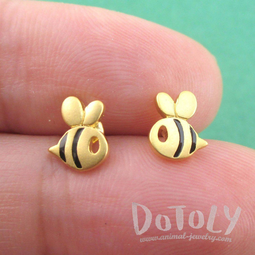 Tiny Bumble Bee Bug Shaped Stud Earrings in Black and Gold | DOTOLY