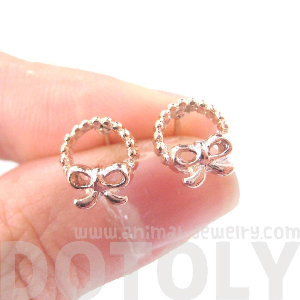 Tiny Classic Round Wreath and Bow Tie Shaped Stud Earrings in Rose Gold | DOTOLY