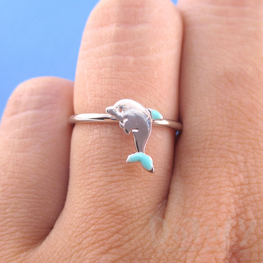 Tiny Dolphin Shaped Sea Creature Themed Adjustable Ring in Silver | DOTOLY