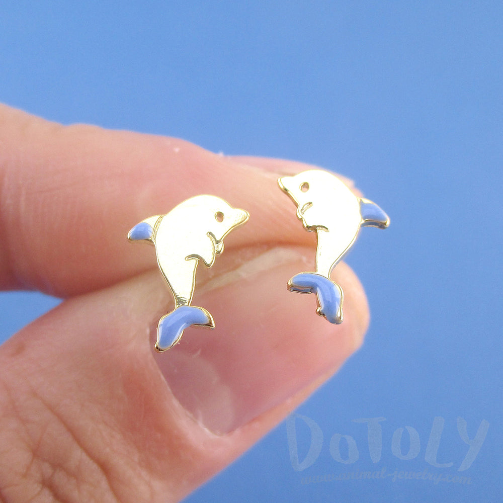 Tiny Dolphin Shaped Sea Creatures Stud Earrings in Gold
