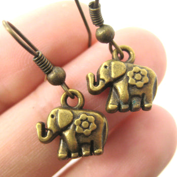 Tiny Elephant Shaped Dangle Earrings in Brass with Floral Detail | DOTOLY | DOTOLY