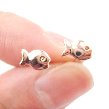 Tiny Fish Shaped Guppies Stud Earrings in Rose Gold | DOTOLY | DOTOLY
