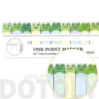 Tiny Green Frog Shaped Animal Themed Sticky Post-it Memo Bookmark Tabs | DOTOLY | DOTOLY