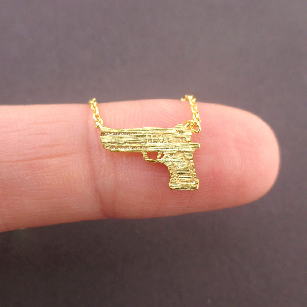 Tiny Handgun Pistol Gun Shaped Pendant Necklace