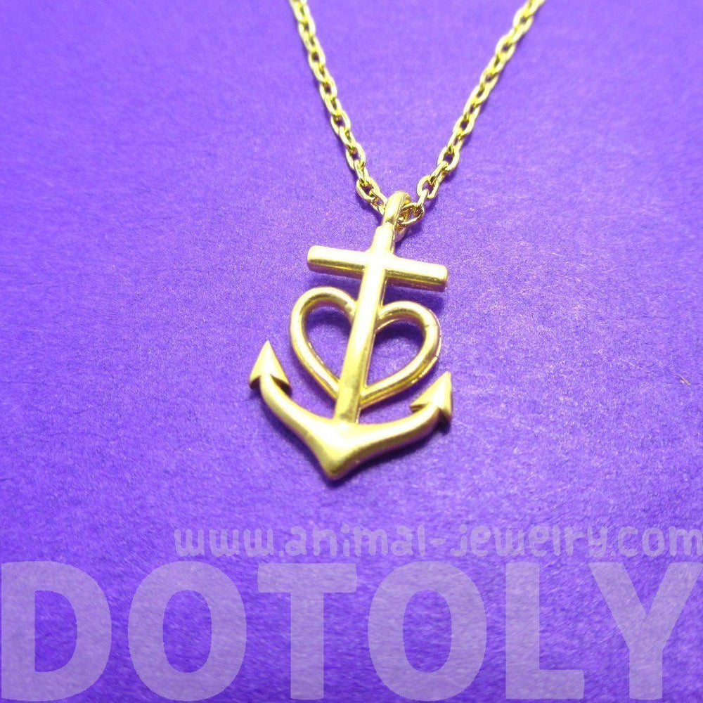 Tiny Heart Shaped Anchor Charm Nautical Themed Necklace in Gold | DOTOLY | DOTOLY