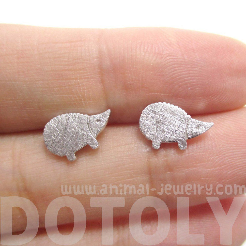 Tiny Hedgehog Animal Shaped Stud Earrings in Silver | DOTOLY | DOTOLY