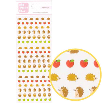 Tiny Hedgehog Porcupines and Apple Shaped Animal Sticker Seals for Scrapbooking and Nail Art | DOTOLY
