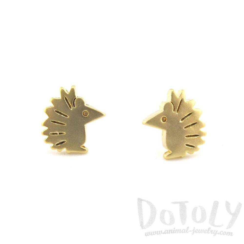 Tiny Hedgehog Shaped Animal Themed Stud Earrings in Gold | Allergy Free | DOTOLY