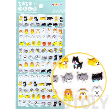 Tiny Kitty Cat and Dog Shaped Animal Pet Themed Puffy Stickers for Kids | DOTOLY
