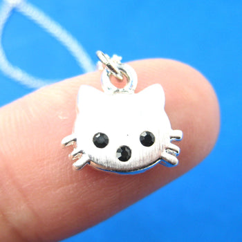 Tiny Kitty Cat Shaped Animal Charm Necklace in Silver | Animal Jewelry | DOTOLY