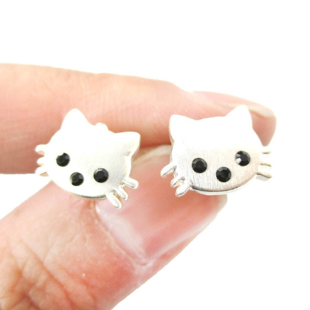 Tiny Kitty Cat Shaped Animal Stud Earrings in Silver with Allergy Free Posts | Animal Jewelry | DOTOLY