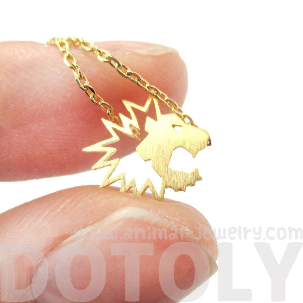Tiny Lion Face Shaped Animal Cut Out Charm Necklace in Gold | Animal Jewelry | DOTOLY