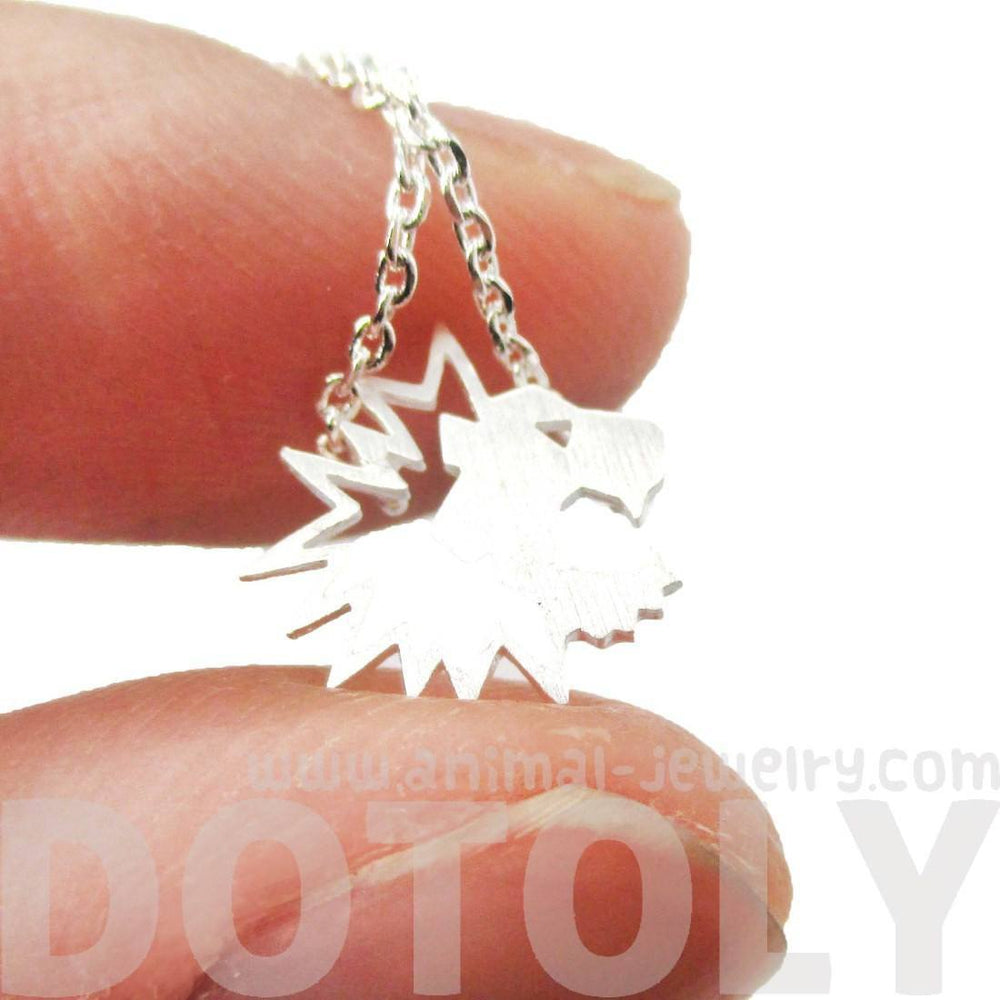 Tiny Lion Face Shaped Animal Cut Out Charm Necklace in Silver | Animal Jewelry | DOTOLY