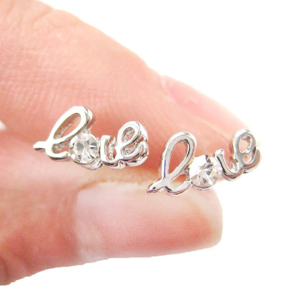 Tiny Love Cursive Letter Shaped Stud Earrings in Silver with Rhinestones | DOTOLY | DOTOLY