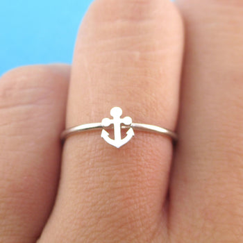 Miniature Anchor Shaped Minimal Nautical Adjustable Ring in Silver