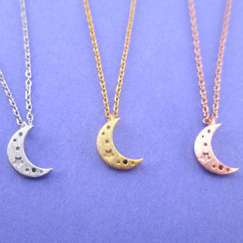 Tiny Minimal Crescent Moon and Stars Shaped Pendant Necklace