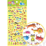 Tiny Mixed Animals Themed Elephant Gorilla Lemur Bat Crocodile Zebra Shaped Puffy Stickers | DOTOLY