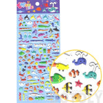 Tiny Mixed Sea Creatures Themed Walrus Penguin Dolphin Fish Shaped Puffy Stickers | DOTOLY