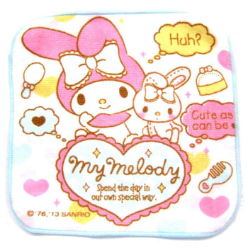 Tiny My Melody Bunny Rabbit and Heart Print Handkerchief Face Towel in Pale Pink | DOTOLY