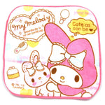 Tiny My Melody Bunny Rabbit Print Handkerchief Face Towel in Pale Pink | DOTOLY