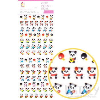 Tiny Panda Bears Playing Ping Pong Shaped Animal Themed Puffy Stickers | DOTOLY