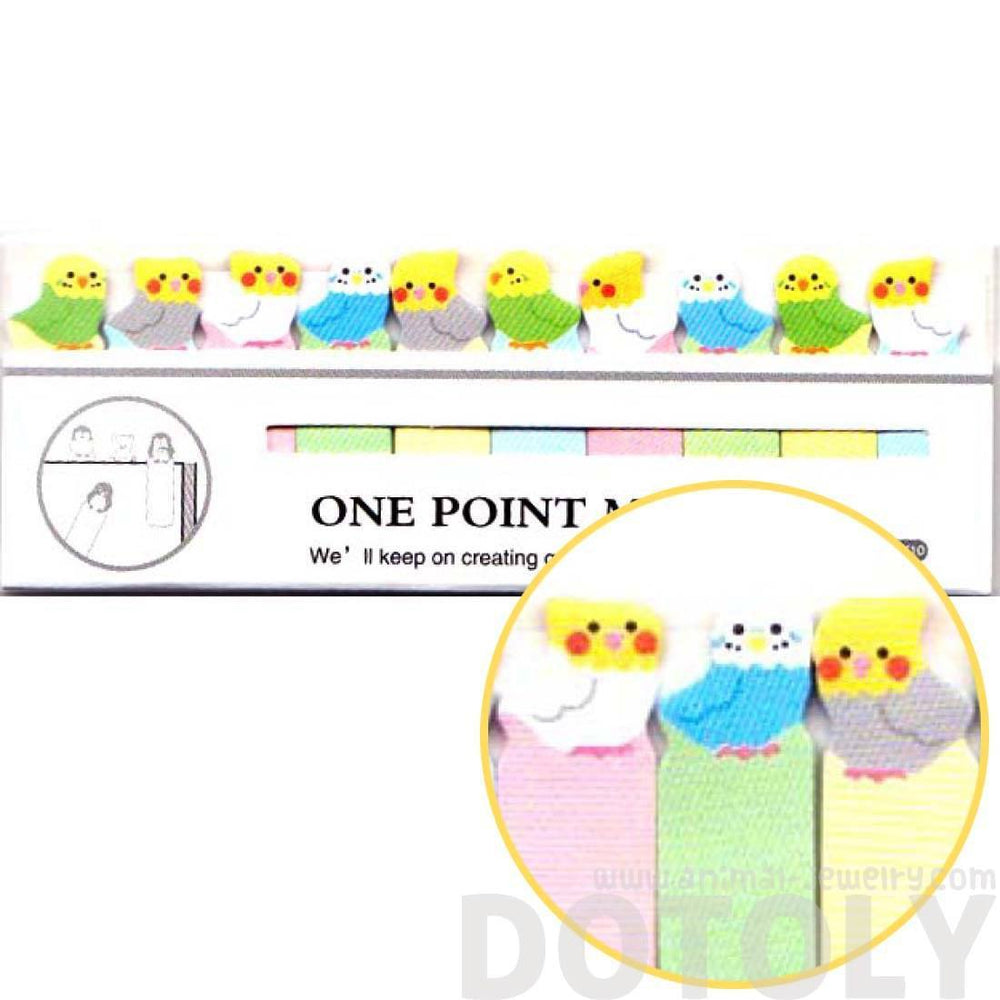 Tiny Parakeet Bird Shaped Animal Themed Sticky Post-it Memo Bookmark Tabs | DOTOLY