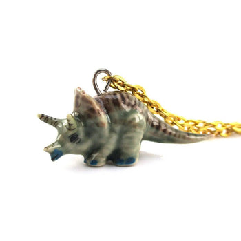 Tiny Porcelain Triceratops Dinosaur Shaped Ceramic Pendant Necklace