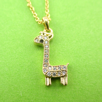Tiny Rhinestone Baby Giraffe Shaped Pendant Necklace in Gold | DOTOLY