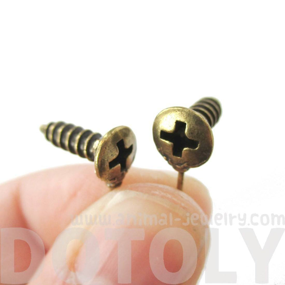 Tiny Screw Shaped Stud Earrings in Brass with Rhinestones | DOTOLY | DOTOLY