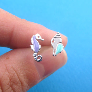 Tiny Seahorse and Conch Sea Shell Shaped Stud Earrings