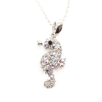 Tiny Seahorse Rhinestone Sea Creatures Pendant Necklace in Silver