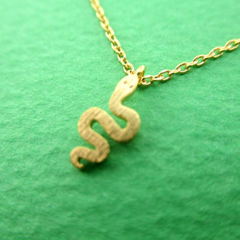 Tiny Snake Shaped Danger Noodle Squiggly Python Pendant Necklace