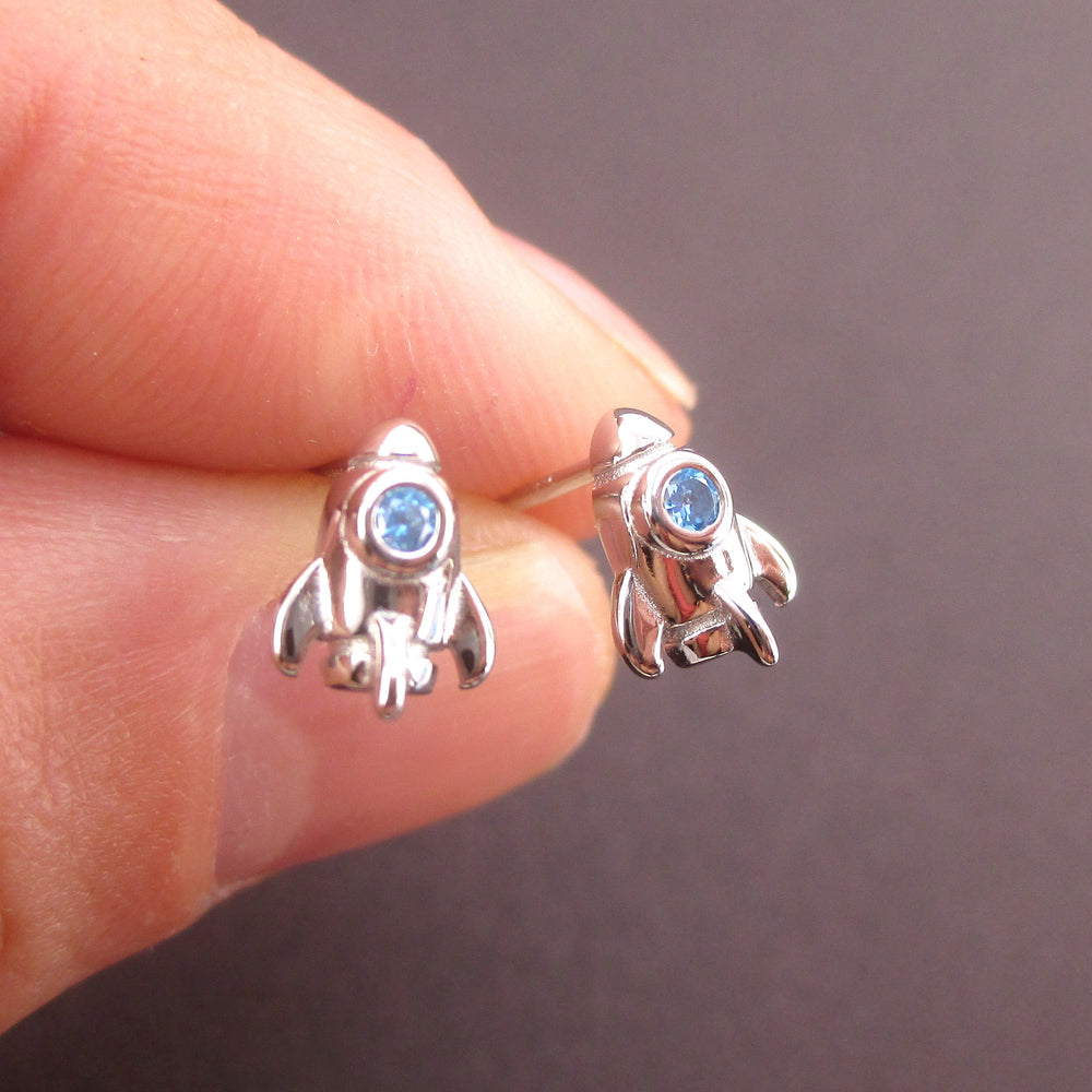 Tiny Spaceship Rocket Starship Shaped Outer Space Themed Stud Earrings
