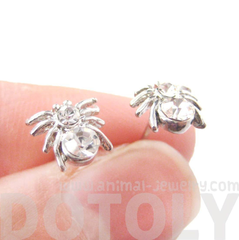 Tiny Tarantula Spider Shaped Stud Earrings in Silver with Rhinestones | DOTOLY