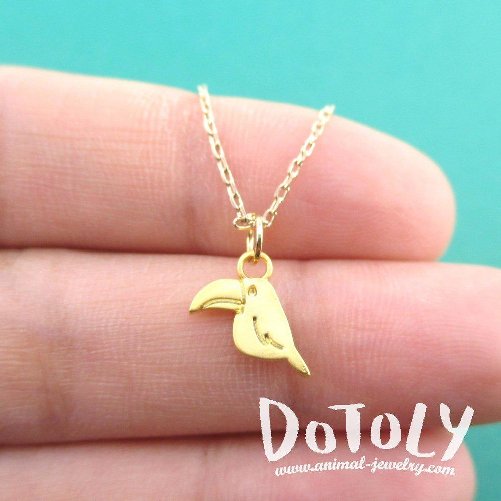 Tiny Toucan Bird Shaped Charm Necklace in Gold